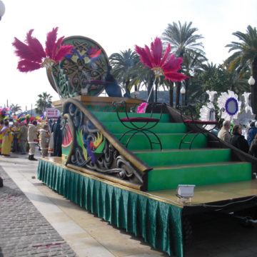 carroza verde escalones