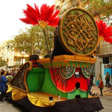 carroza verde para desfiles